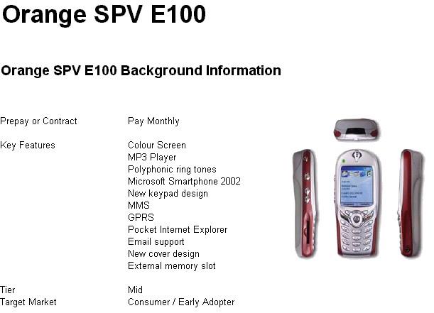SPV E100 Details