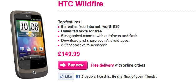 HTC Wildfire Now On T Mobile PAYG