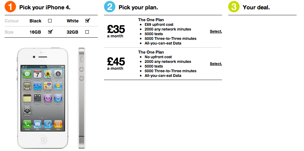 White iPhone 4 Showing On Three UK Site