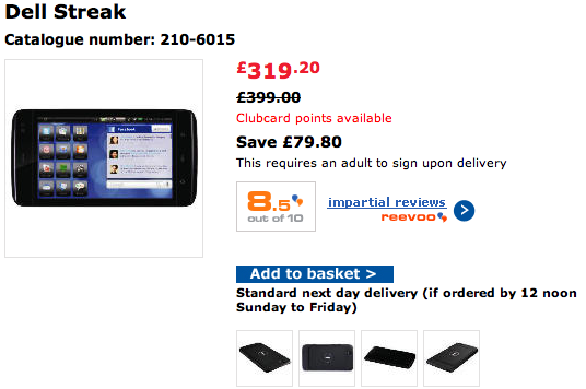 Dell Streak Just £319.20 On Tesco