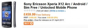 Sony Ericsson Xperia Arc available soon from Play.com