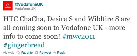 Vodafone To Range ChaCha, Wildfire & Desire S