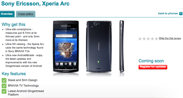 Vodafone To Stock Sony Ericsson Arc