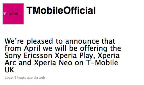 T Mobile UK Take Xperia Play, Arc & Neo