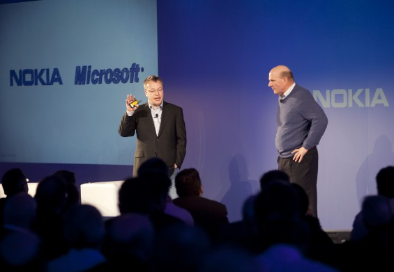 Stephen Elop Nokia President and CEO and Steve Ballmer Microsoft CEO 3