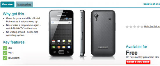 Samsung Galaxy Ace Now On Vodafone