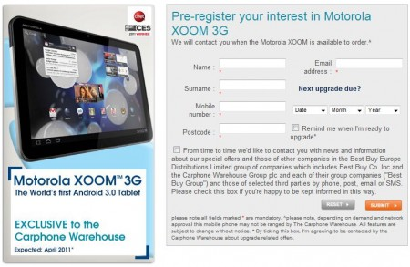 Carphone Warehouse and Best Buy to have exclusive on the Motorola Xoom 3G