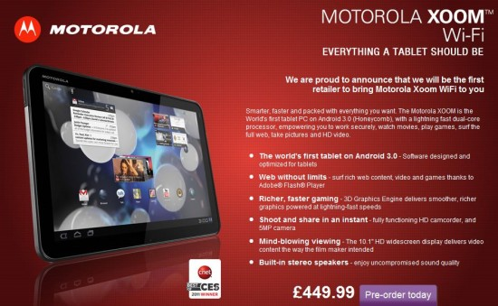 Motorola Xoom UK pricing back online. Now more expensive!