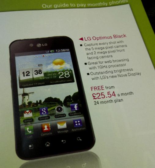 Optimus Black £25 p/m On T Mobile