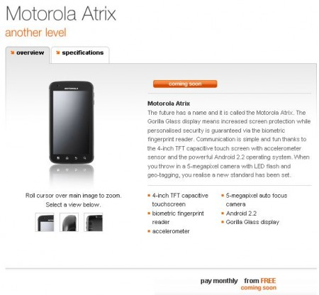 Motorola Atrix now on Orange site