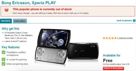 Vodafone start selling Xperia PLAY   Immediately sells out