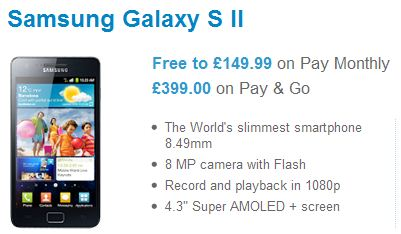 O2 Offering up the Galaxy S II for just £399