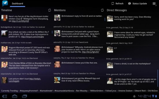 Android Tablet App: Tweetcomb