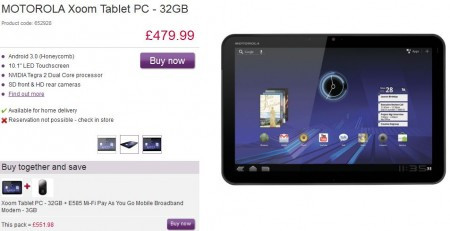 Motorola Xoom   Now £479.99