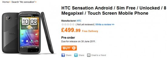 HTC Sensation priced up SIM free   £499.99