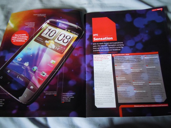 HTC Sensation Appears In Vodafone Brochures