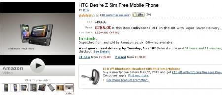 HTC Desire Z   Just £265 !