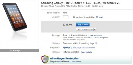 Samsung Galaxy Tab, now just £249.99