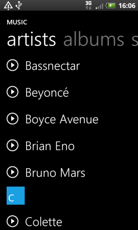 Windows Phone 7 style music player for Android