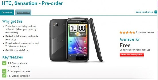 HTC Sensation available for pre order on Vodafone