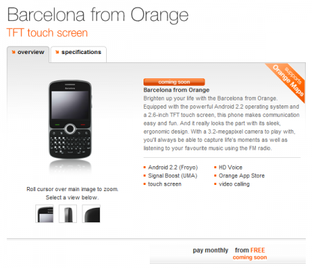 Orange to release the Barcelona smartphone.