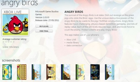 Angry Birds now available for Windows Phone too