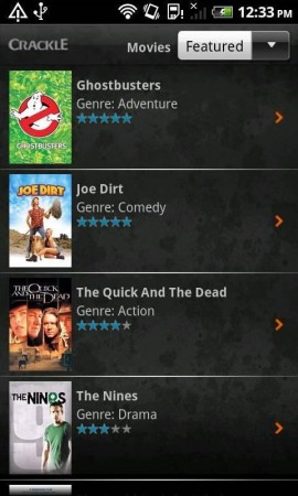 Suggested Android App  Crackle.