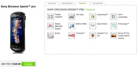 Xperia Pro up for pre order with Sony Ericsson