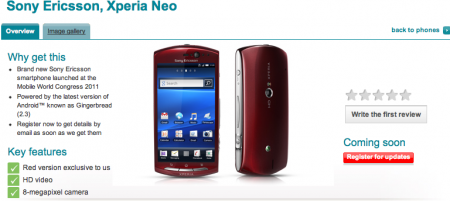 Xperia Neo Exclusive to Vodafone in red