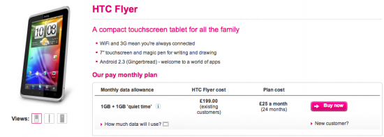 HTC Flyer Now On T Mobile UK