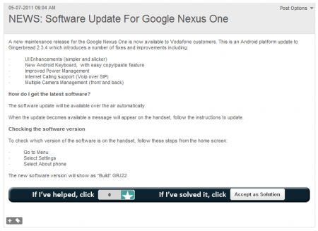 Vodafone release Android 2.3.4 Gingerbread for Nexus one