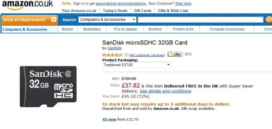 Deal   Cheap SanDisk 32GB microSD card