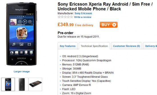 Xperia ray arriving on August 15th