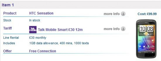 HTC Sensation offer   £30 p/m on a 12 month plan