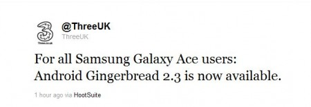 Samsung Galaxy Ace blessed with Android 2.3 on Three