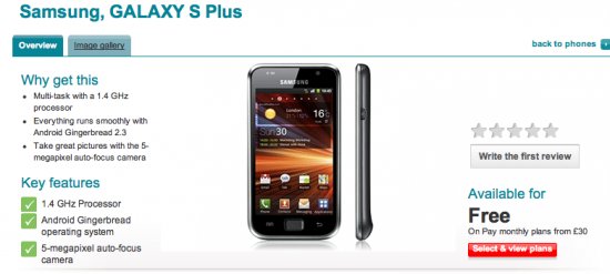 Galaxy S Plus Lands On Vodafone