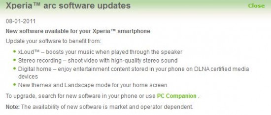 Xperia arc update available