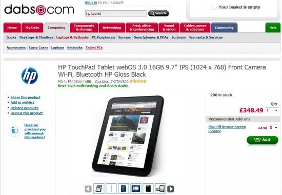 Bargain frenzy   The HP TouchPad at dabs.com