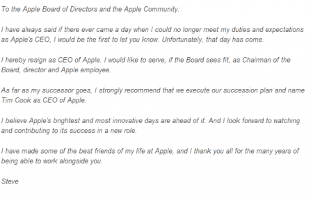 Steve Jobs resigns as CEO at Apple.