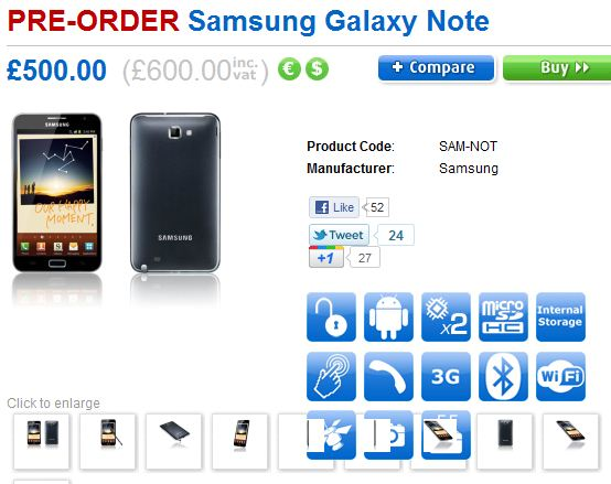 Samsung Galaxy Note due at the end of November