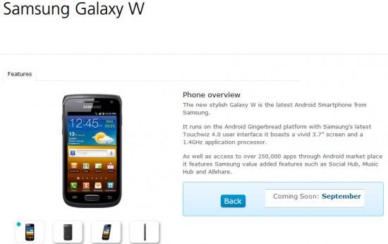 O2 to range the Samsung Galaxy W