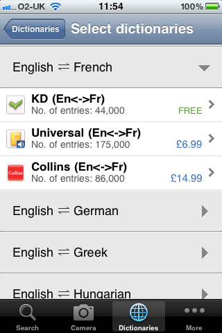 Available French dictionaries
