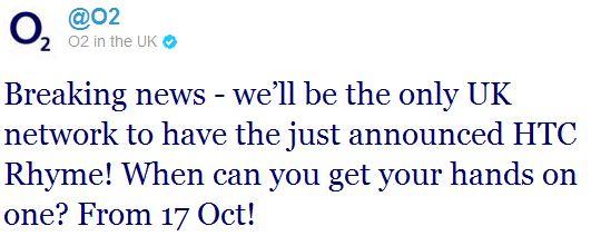 o2twitter htc announcement