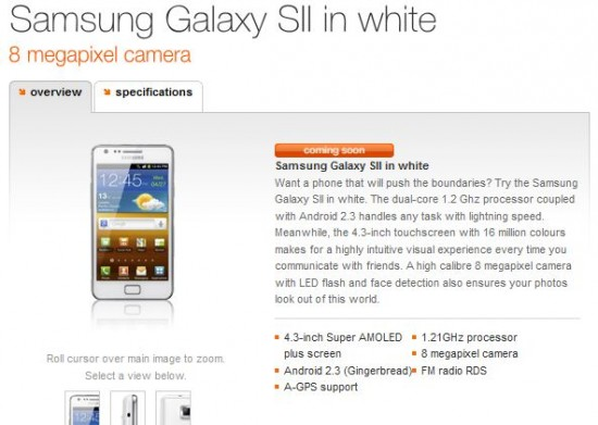 T Mobile and Orange also offering the white Galaxy SII