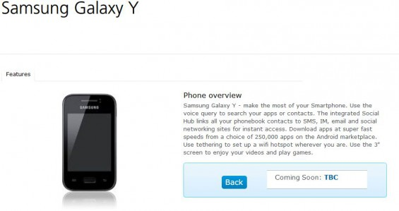 Samsung Galaxy Y also due to arrive on O2
