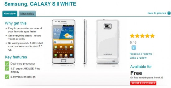 White Galaxy SII now available on Vodafone