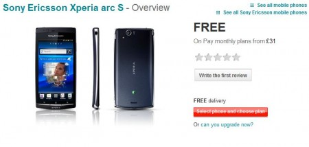 Xperia Arc S   Now on Vodafone