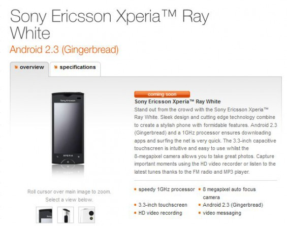 Xperia ray now in Orange coming soon section