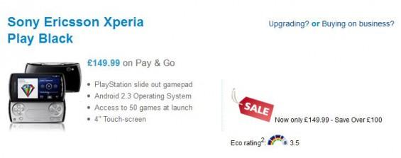 Xperia Play less than £150 on O2