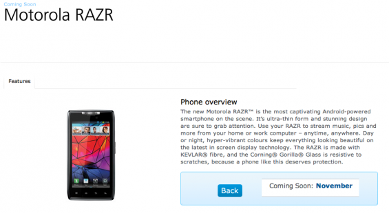 Motorola RAZR Coming To O2 UK